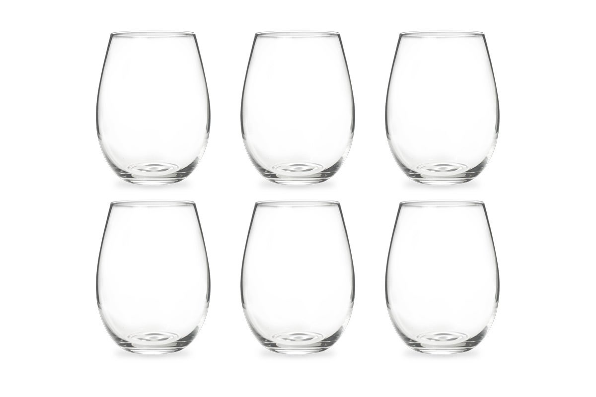 New Ovela Wine Glasses 6 Pack Stemless Crystal Wine