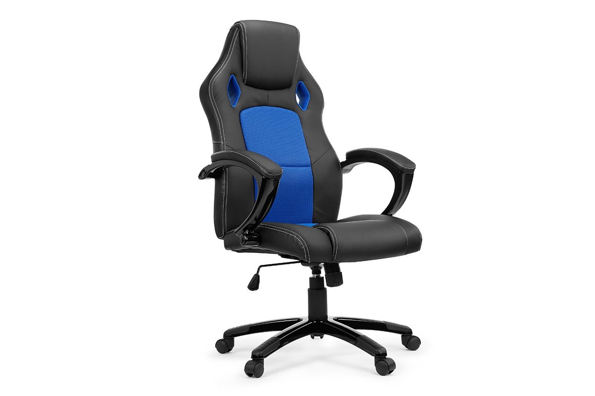 new ovela office chair racing seat faux leather blue ebay