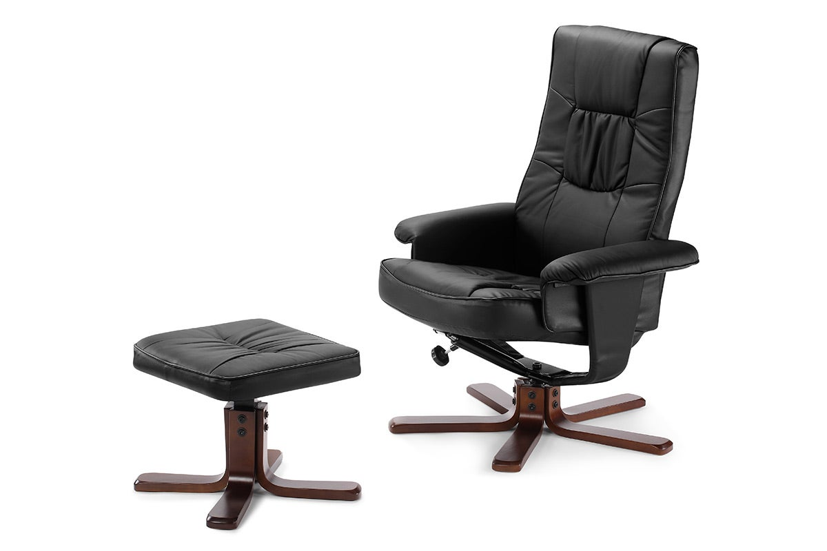 details about ovela faux leather recliner chair with ottoman black