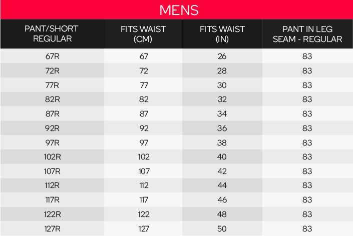 King Gee Men's Regular Pants Sizing Chart