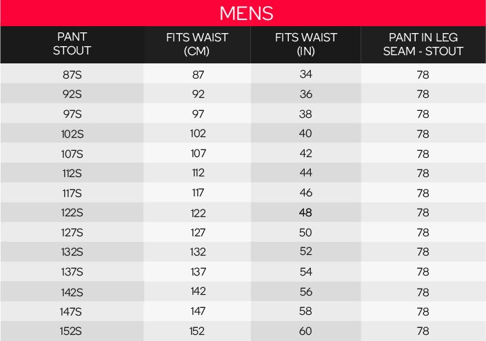 King Gee Men's Short Pants Sizing Chart