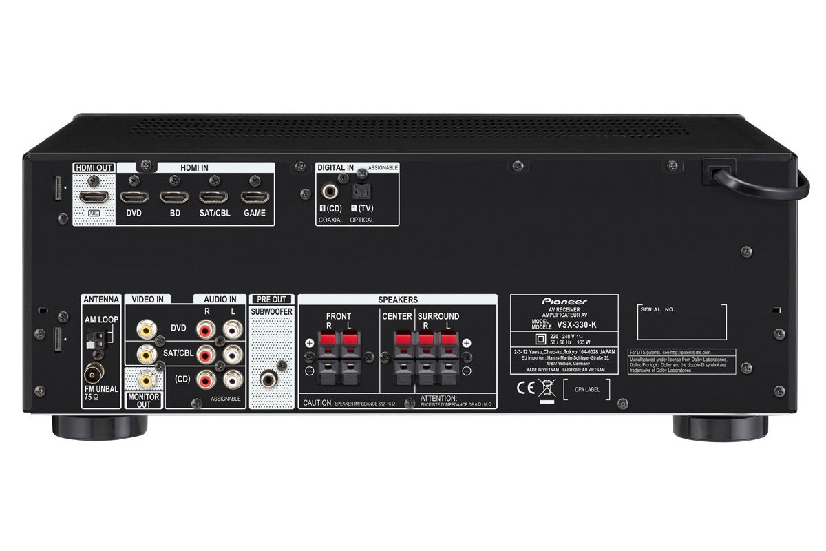 pioneer 105w 5 1 channel av receiver with ultra hd 4k pass through vsx330 ebay. Black Bedroom Furniture Sets. Home Design Ideas