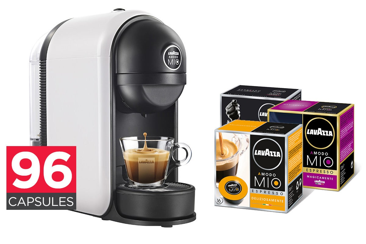 lavazza min coffee capsule machine 96 lavazza capsules ebay. Black Bedroom Furniture Sets. Home Design Ideas