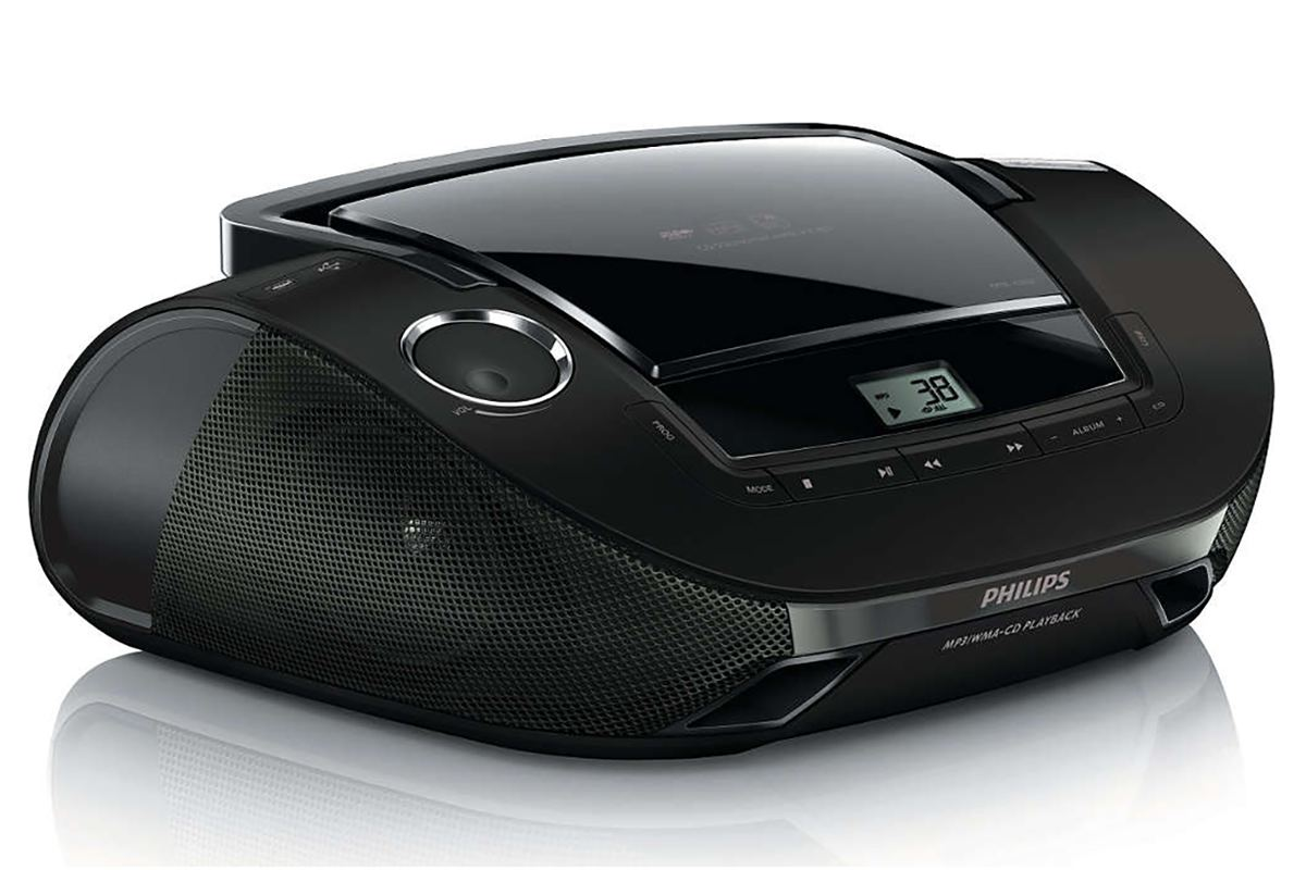 philips sound machine portable cd player with usb black. Black Bedroom Furniture Sets. Home Design Ideas