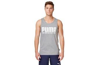 Puma Men's Graphic Tank Top (Medium Grey Heather, Size L)