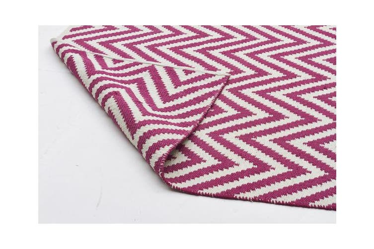 Modern Flatweave Chevron Design Pink Rug 280x190cm