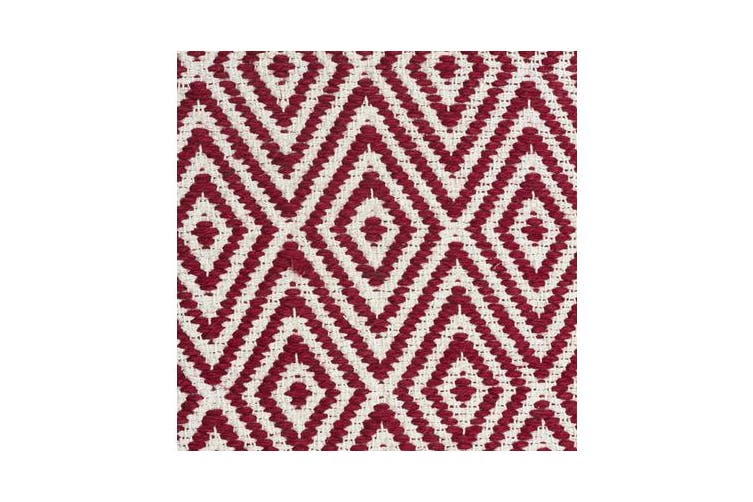 Modern Flatweave Diamond Design Red Rug 280x190cm