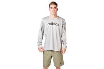 Adidas Men's Logo Long Sleeve Tee (Mid grey heather, Size L)
