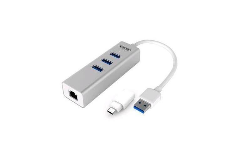 Unitek Y-3083B USB3.0 3-Port + Gigabit Ethernet Aluminium Hub (With OTG USB Type-C Adaptor)