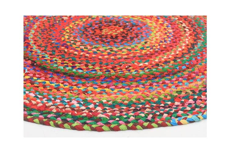 Chandra Braided Cotton Rug Multi 150x150cm