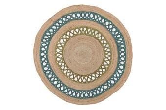 Hula Stunning Jute Rug Turquoise 240x240cm