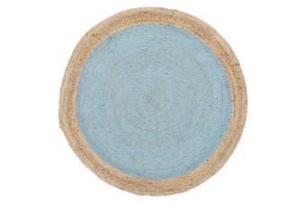 Round Jute Natural Rug Blue 120x120cm