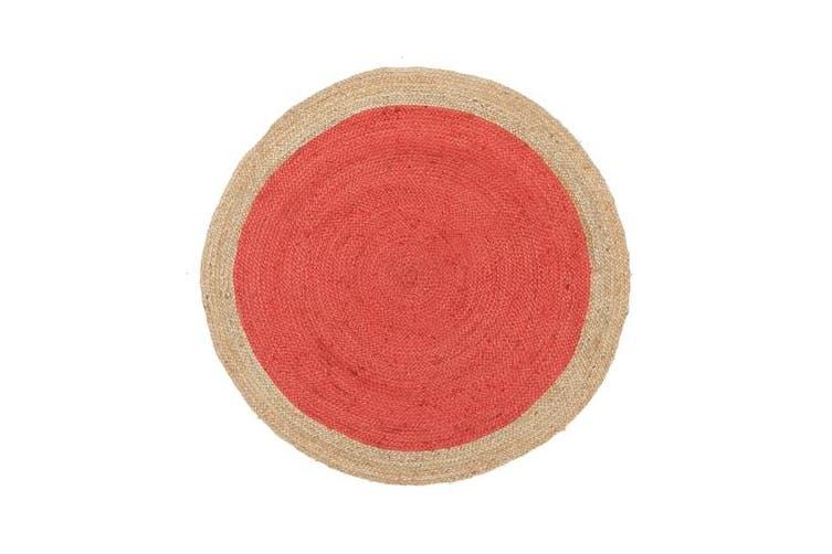 Round Jute Natural Rug Cherry 200x200cm