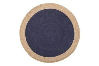 Round Jute Natural Rug Navy