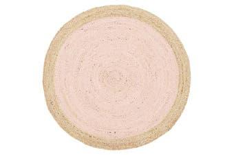 Round Jute Natural Rug Pink 200x200cm