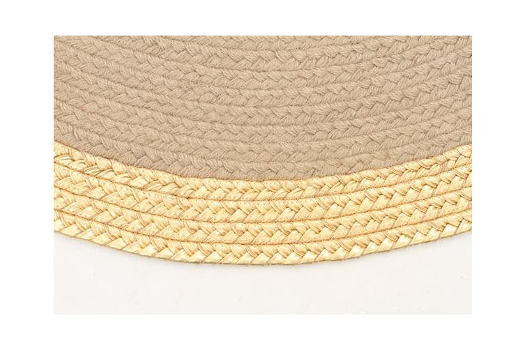 Milano Metallic Gold and Natural Jute Rug 120x120cm