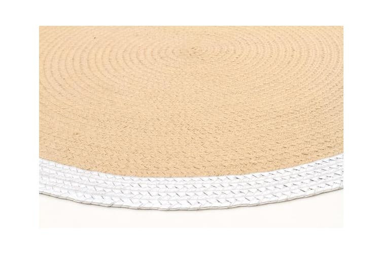 Milano Metallic Silver and Natural Jute Rug 120x120cm