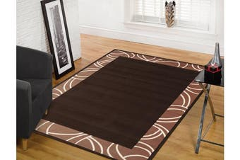 Modern Border Rug - Brown
