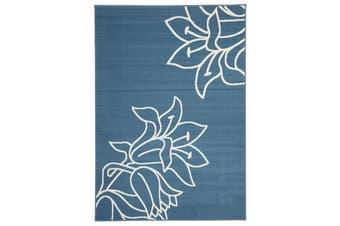 Modern Spring Leaf Blue Rug 230x160cm