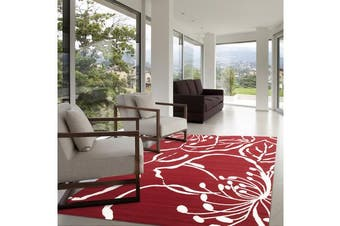 Modern Flower Outline Rug Red 230x160cm