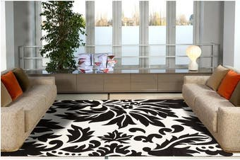 Stunning Black Off white Pattern Rug