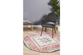 Multi Red Diamond Vintage Look Round Rug 150X150cm
