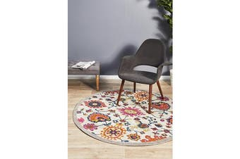 Multi Wildflower Vintage Look Round Rug 240X240cm