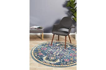 Navy & Multi Wreath Vintage Look Round Rug 240X240cm