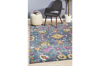 Blue & Multi Floral Field Vintage Look Rug 400X300cm