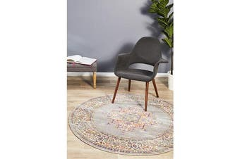 Grey & Multi Oriental Vintage Look Round Rug 200X200cm