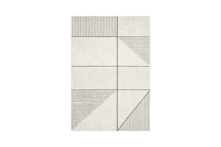 Carter Ivory & Charcoal Super Soft Contemporary Rug 340x240cm
