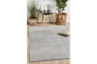 Carter Silver Grey & Ivory Super Soft Contemporary Rug 340x240cm