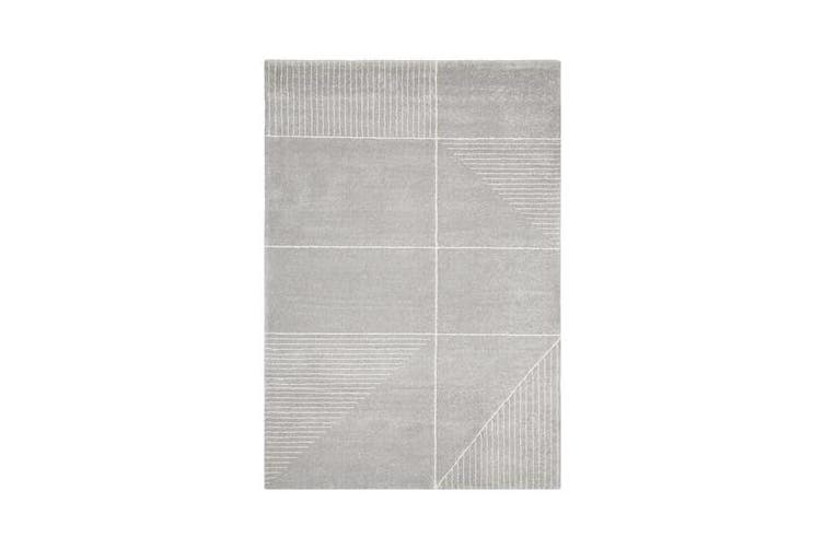 Carter Silver Grey & Ivory Super Soft Contemporary Rug 340x240cm