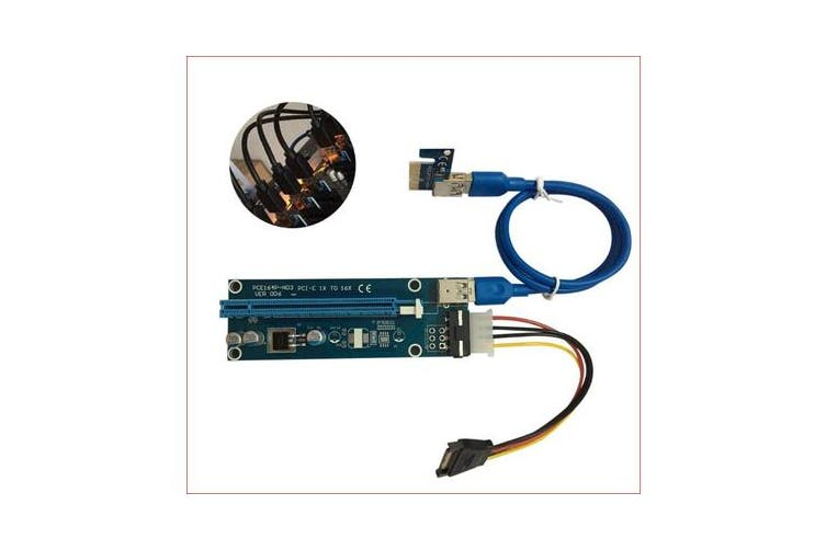 PCI-E PCI Express 16x Adapter Riser Card Extension Power USB 3.0 Internal Cable - Used for mining / BTC / ETH crypto server