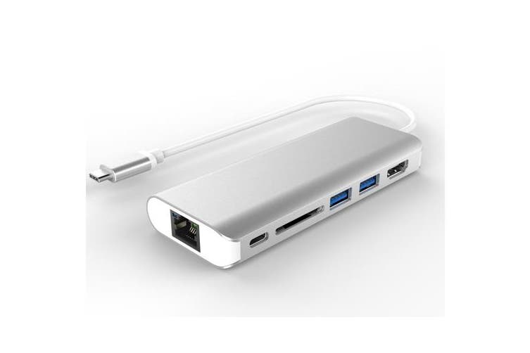 Astrotek All-in-One Dock Thunderbolt USB-C 3.1 Type-C to HDMI+USB3.0+Card Reader+RJ45 Gigabit LAN+TypeC PD Function for Macbook Pro