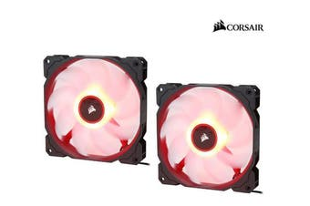 Corsair Air Flow 140mm Fan Low Noise Edition / Red LED 3 PIN - Hydraulic Bearing, 1.43mm H2O. Superior cooling performance. TWIN Pack!