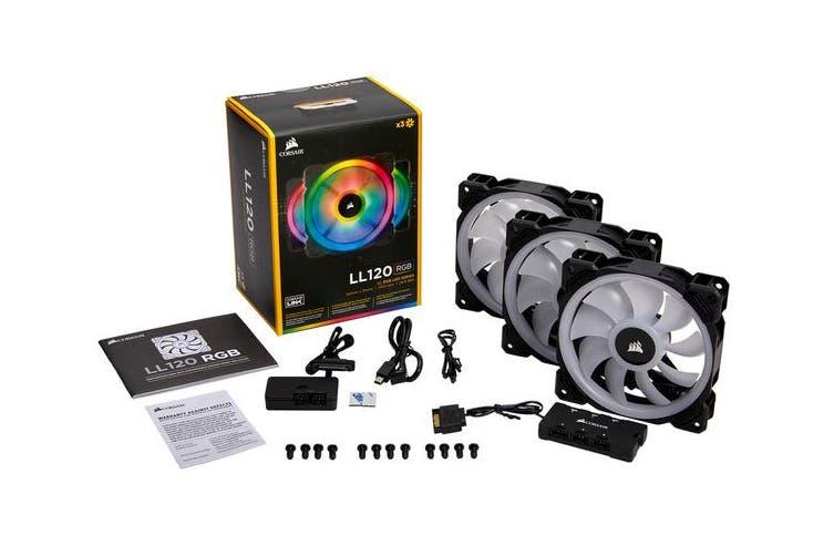 Corsair Light Loop Series, LL120 RGB, 120mm Dual Light Loop RGB LED PWM Fan, 3 Fan Pack with Lighting Node PRO