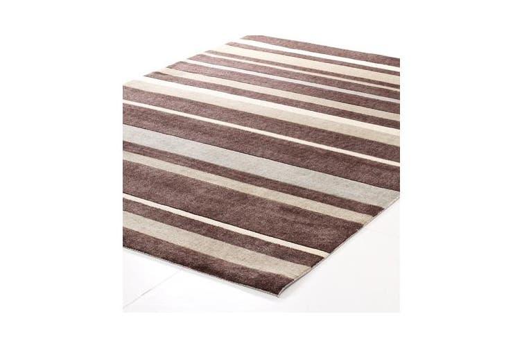 Stylish Stripe Rug Brown Beige 220x150cm