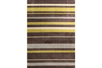 Stylish Stripe Rug Brown Green 220x150cm
