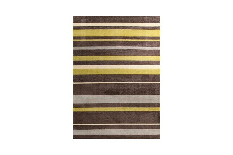 Stylish Stripe Rug Brown Green 280x190cm