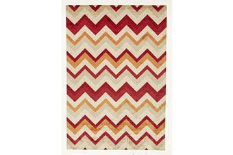 Stunning Chevron Design Rug Rust Red 220x150cm