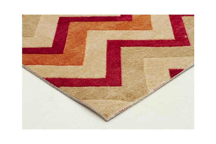 Stunning Chevron Design Rug Rust Red 280x190cm