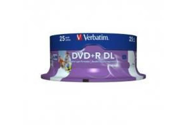 Verbatim DVD+R DL 8.5GB 25Pk White Wide Inkjet 8x