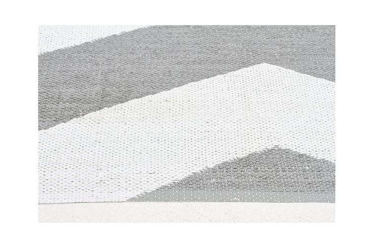 Coastal Indoor Out door Rug Chevron Grey White 220x150cm