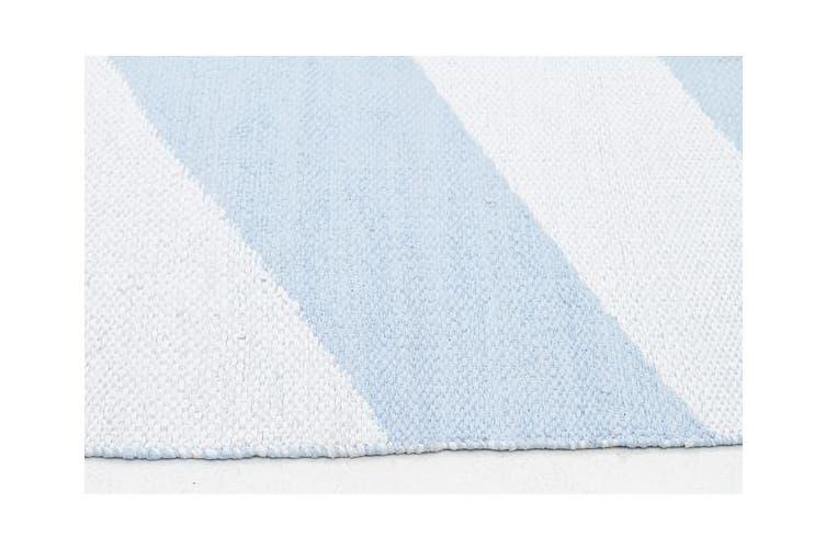 Coastal Indoor Out door Rug Chevron Sky Blue White 220x150cm