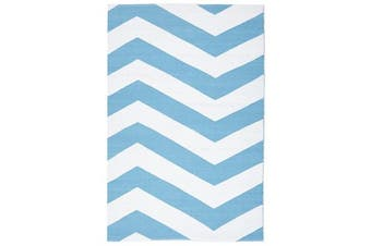 Coastal Indoor Out door Rug Chevron Turquoise White 220x150cm