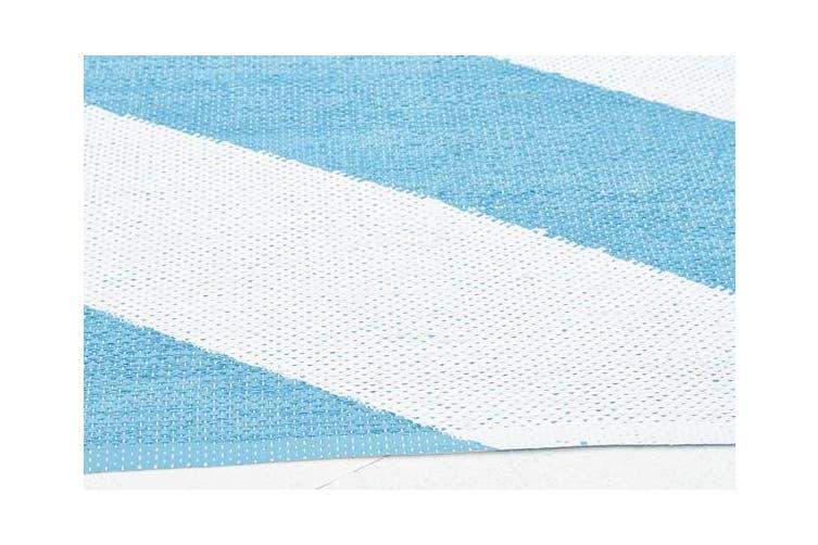 Coastal Indoor Out door Rug Chevron Turquoise White 220x150cm