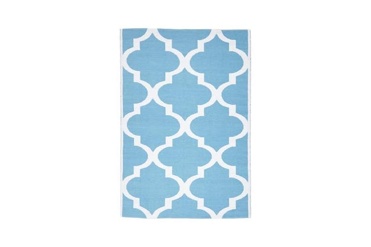Coastal Indoor Out door Rug Trellis Turquoise White 220x150cm