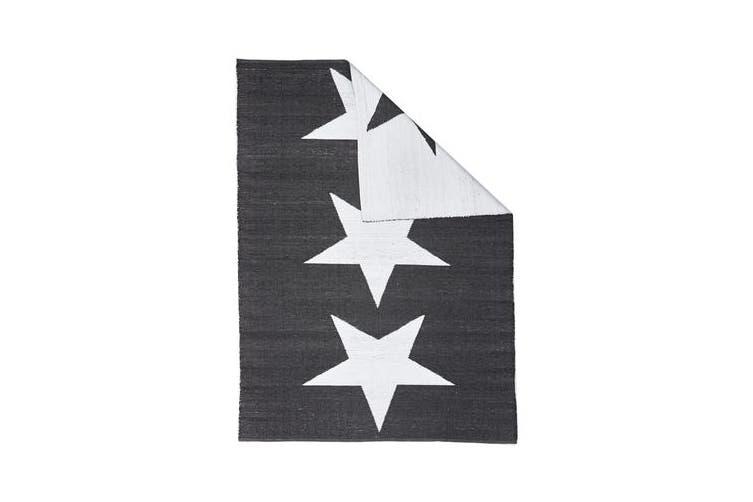 Coastal Indoor Out door Rug Star Black White 270x180cm