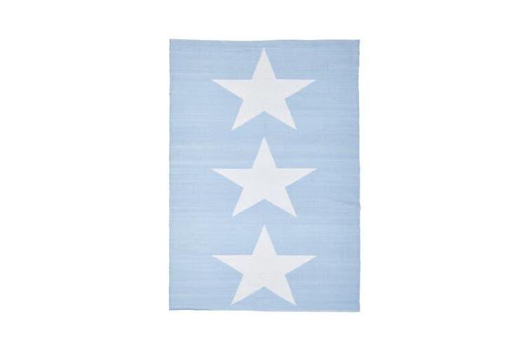 Coastal Indoor Out door Rug Star Sky Blue White 270x180cm